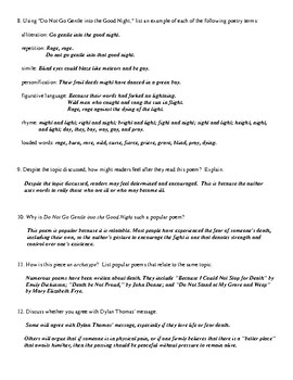 """Dylan Thomas' """"Do Not Go Gentle Into That Good Night"""" Worksheet and Answer Key"""
