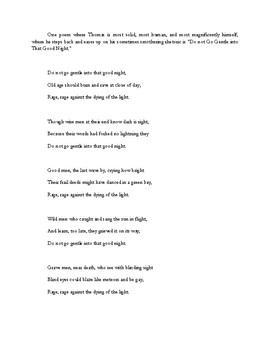 Dylan Thomas's Poetry