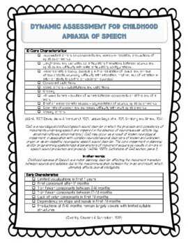 Dynamic Assessment for Childhood Apraxia of Speech Checklist