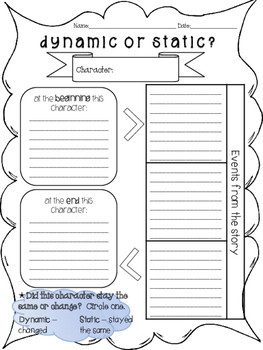 dynamic character graphic organizer by anna mae tpt. Black Bedroom Furniture Sets. Home Design Ideas