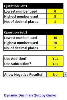 Dynamic Decimals Quiz