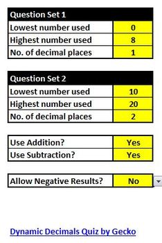 Dynamic Decimals Quiz