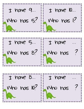 "Dynamic Dinosaurs ""I have, Who has..."" Number Recognition"