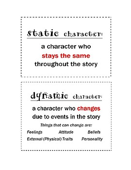 Dynamic Static Character Lesson Plan- Change in Character- Hands On