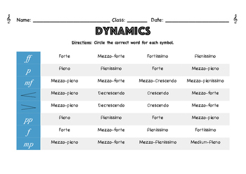 Music Dynamic Symbols Worksheet