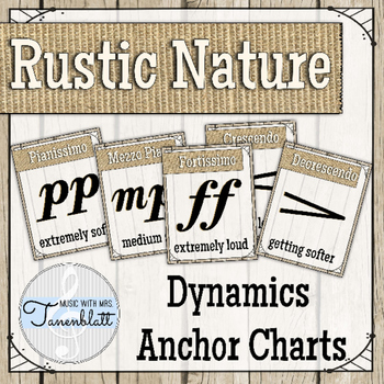 Dynamics Anchor Charts Posters: Rustic Nature Theme