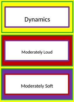 Dynamics Flash Cards/Labels for Beginners