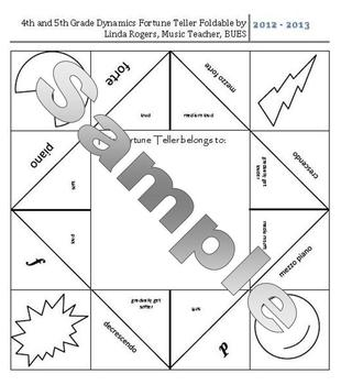 Dynamics Fortune Teller for 4th-5th Grade General Music