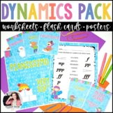 Dynamics Worksheets, Posters, & Flashcards for Music Students - Winter Theme