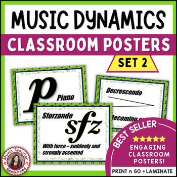 Music Classroom Decor Set: Dynamics Posters Set 2