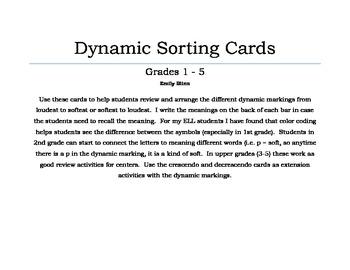 Dynamics Sorting Cards