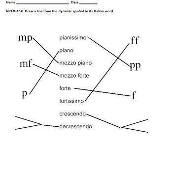 Dynamics And Tempo Worksheets Elementary Music Matching Assessment