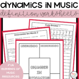 Dynamics in Music Definition Worksheets