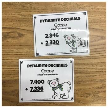 (Half Off) Dynamite Decimals Task Cards (Winter Theme)
