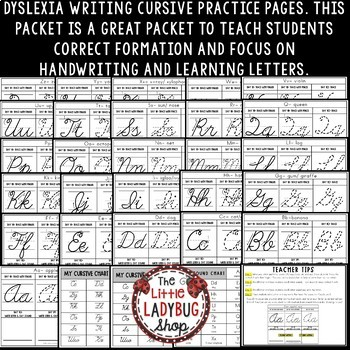 Dyslexia Cursive Handwriting Practice Worksheets with Directions