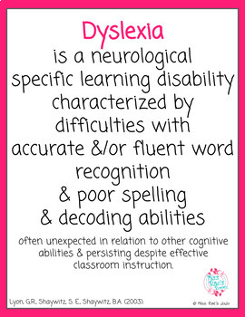 Dyslexia Definition Posters FREEBIE l Specific Learning Disability