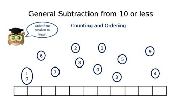 Dyslexia Focused - General Subtraction from 10 or less (Counting and Ordering)