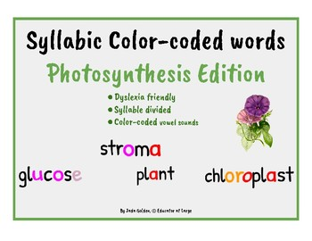 Dyslexia Friendly ~ Color-Coded Syllabic Words ~ Photosynthesis Edition