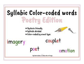 Dyslexia Friendly Phonetic Words by Syllable Type ~ Poetry Edition