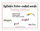 Dyslexia Friendly Phonetic Words by Syllable Type ~ Poetry