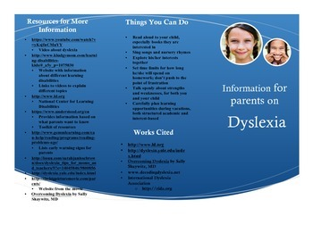 Special Education Parent Handout: Dyslexia