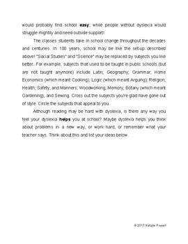 Dyslexia Informational Text: Benefits of Dyslexia
