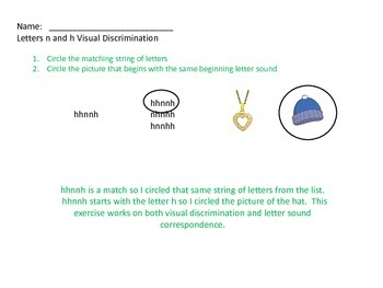 Dyslexia Intervention: Lowercase n and h Visual and Sound Activity