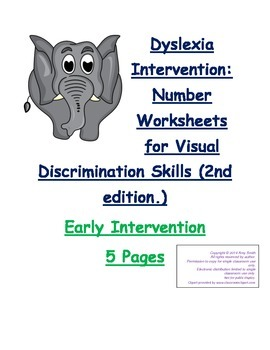 Dyslexia Intervention: Number Visual Discrimination Printables (5pgs)