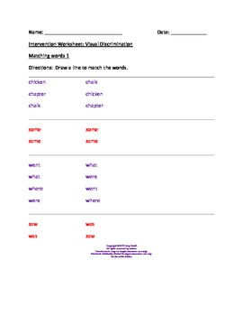 Dyslexia Intervention Worksheets for Visual Discrimination