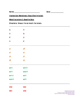 Dyslexia Intervention: Worksheets for Visual Discrimination 2 (K-5, 6pgs.)