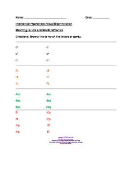 Visual Discrimination Worksheets For Kindergarten