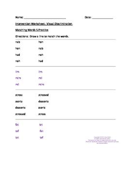 dyslexia intervention worksheets for visual discrimination 2 k 5 6pgs. Black Bedroom Furniture Sets. Home Design Ideas