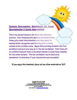 Dyslexia Intervention: Worksheets for Visual Discriminatio