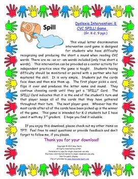 Dyslexia Intervention: Short A SPILL! Game (Gr. 1-3, 9 pgs.)