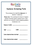 Dyslexia Screening Form