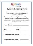 Dyslexia Screening Form