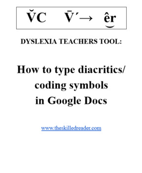 Dyslexia Teachers Tool: How to type diacritics/ coding symbols in Google  Docs