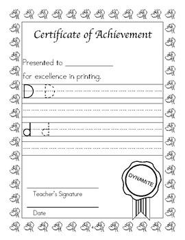 Dyslexia and Dysgraphia Collection: Certificates of Achievement - Manuscript