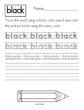 Dyslexia and Dysgraphia Collection: Color Words - Manuscript
