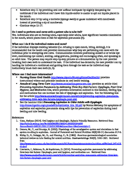 Dysphagia, Aspiration Pneumonia, & Oral Care Handout