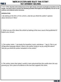 Dystopia: Challenging Informational Text, Annotate, 19 Questions