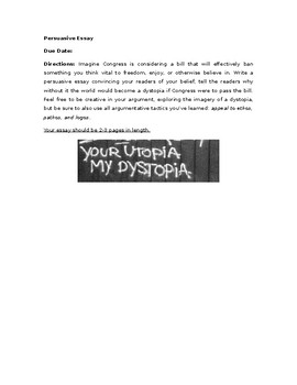 Dystopia Persuasive Essay Prompt (Used with Atwood)