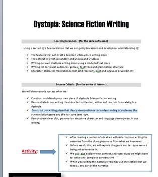 Dystopia Writing Piece- teacher resources