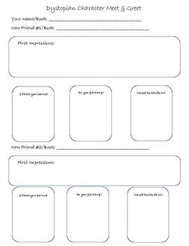 Dystopian Character Meet and Greet Graphic Organizer