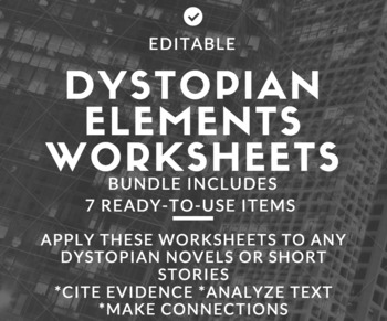 Dystopian Elements Worksheets to Supplement Novel Study or Short Stories