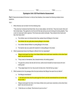 Dystopian End of Unit Assessment CCSS's RL8.1-RL8.6, RL8.9