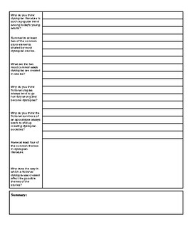 Dystopian Fiction Cornell Notes Template