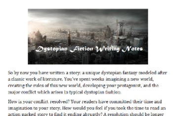 Dystopian Fiction Writing Notes (Part 2 of Project)