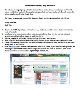 Dystopian Group Book Talk Activity