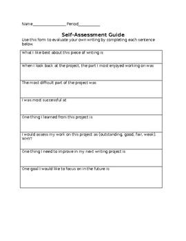 Peer and Self Response Sheet